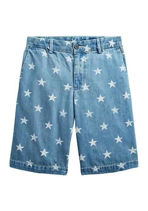Ralph Lauren Childrenswear Boys 8-20 Star-Print Denim Shorts