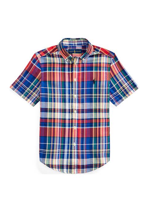Boys 8-20 Cotton Madras Shirt