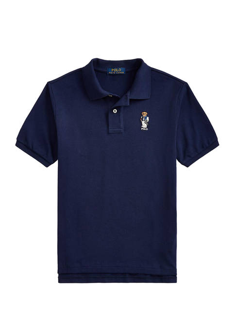 Boys 8-20 Football Bear Cotton Mesh Polo