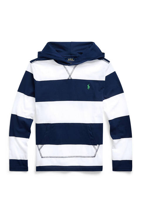 Boys 8-20 Striped Cotton Hooded Tee