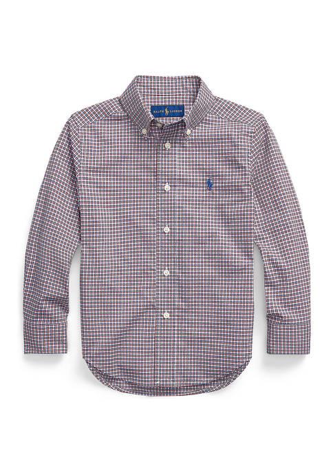 Boys 8-20 Plaid Cotton Poplin Shirt