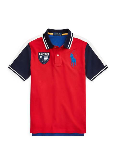 Boys 8-20 Color Blocked Cotton Mesh Polo Shirt