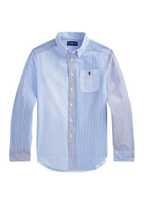 Boys 8-20 Striped Cotton Seersucker Fun Shirt