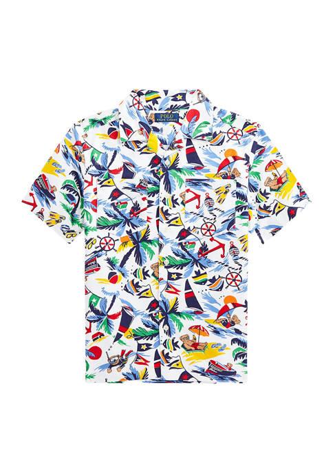 Boys 8-20 Polo Bear Cotton Oxford Camp Shirt