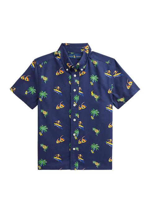 Boys 8-20 Tropical-Print Cotton Oxford Shirt