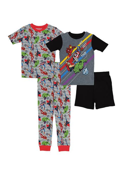 Marvel Avengers Boys 4-20 Cotton 4-Piece Pajama Set