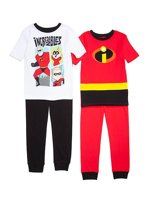 Disney Pixar Boys 4-20 Incredibles 4 Piece Pajama