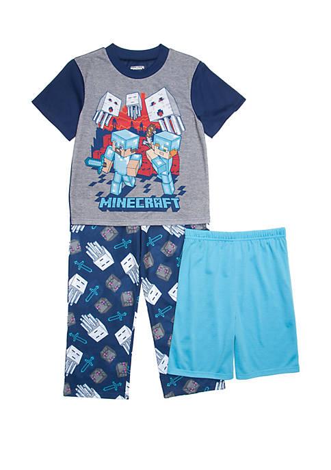 Boys 4-20 Minecraft 3 Piece Pajama Set