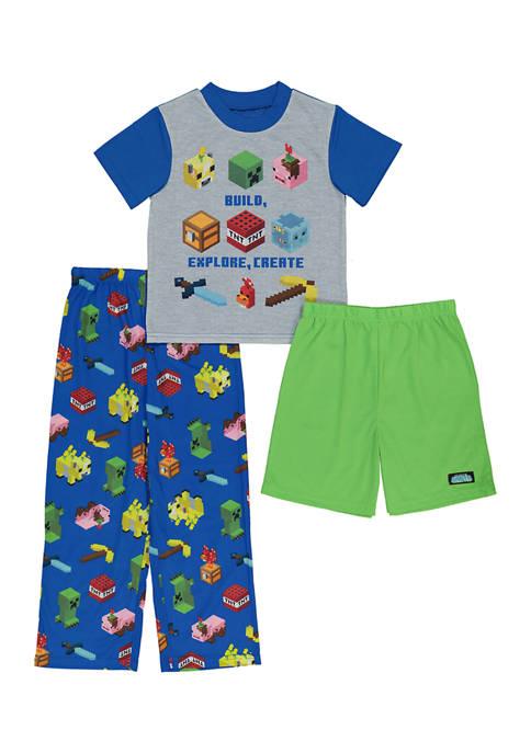 Boys 4-20 3 Piece Minecraft Graphic Pajama Set