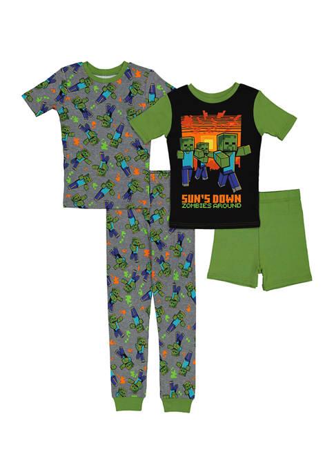 Boys 4-20 Minecraft 4-Piece Cotton Pajamas Set