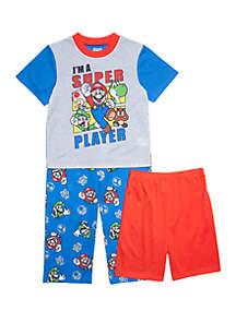 Super Mario Boys 4-20 Super Mario 3 Piece Pajama Set