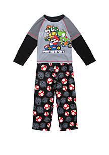 Super Mario Boys 4-10 Mario 2 Piece Drop Sleeve Pajama Set