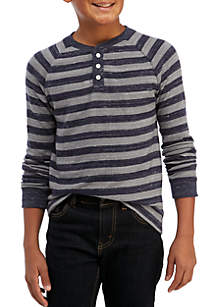 Boys 8-20 Long Raglan Sleeve Stripe Henley