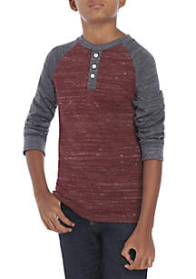 Boys 8-20 Long Raglan Sleeve Color Block Henley