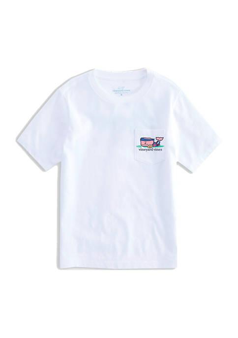 Boys 8-20 Short Sleeve Flag Football Whale Pocket T-Shirt