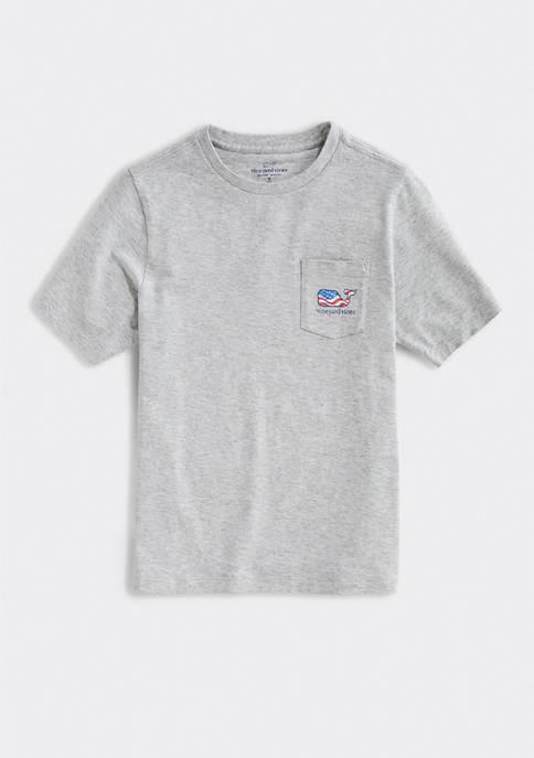 Boys 8-20 Short Sleeve Waving Whale Flag T-Shirt