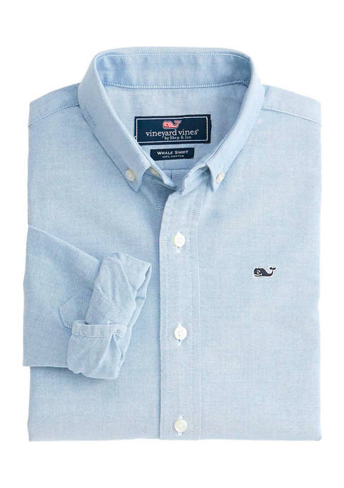 Boys 8-20 Solid Oxford Whale Shirt