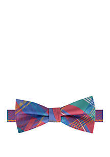 IZOD Boys Coral Plaid Bow Tie