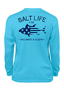 Boys 8-20 Red White and Bluefin Long Sleeve Tee