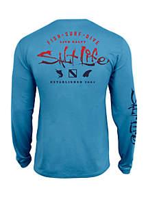 Salt Life Boys 8 - 20 Faded Icon Long Sleeve T Shirt