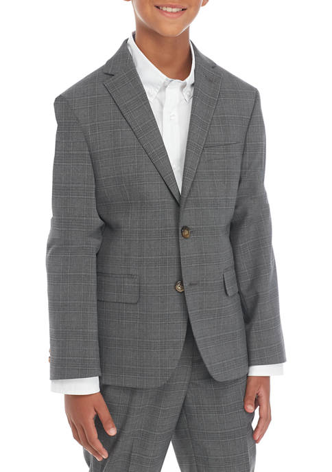 Boys 8-20 Gray Plaid Suit Jacket