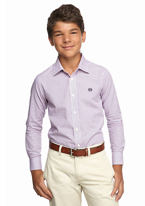 Poplin Tattersal Shirt Boys 8-20