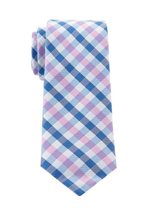 Boys 8-20 White Warp Gingham Tie