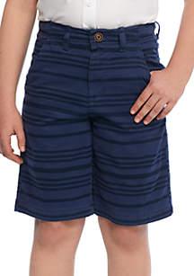 Boys 8-20 Relaxed Stretch Twill Navy Stripe Shorts