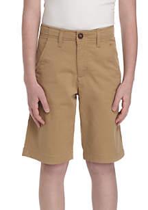 TRUE CRAFT Boys 8-20 Stretch Twill Flat Front Husky Shorts