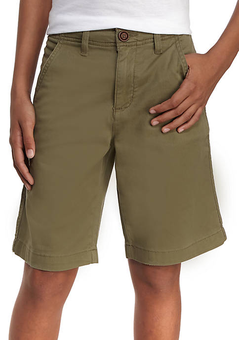 TRUE CRAFT Relaxed Stretch Twill Flat Front Shorts