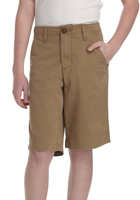 Boys Husky Relaxed Stretch Twill Flat Front Shorts