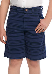 Boys 8-20 Relaxed Stretch Twill Flat Front Tonal Stripe Shorts