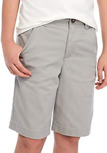 TRUE CRAFT Boys 8-20 Flat Front Twill Dove Gray Shorts