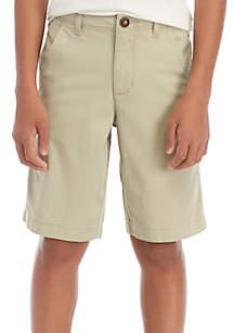TRUE CRAFT Boys 8-20 Flat Front Twill Mineral Tan Shorts