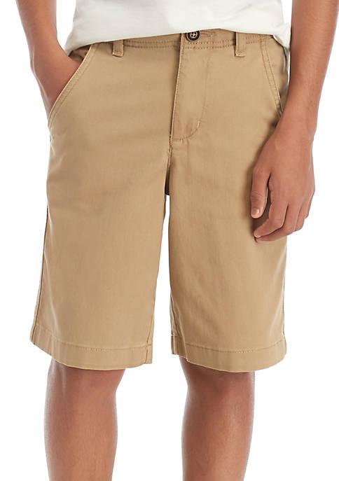 Boys 8-20 Flat Front Twill Outdoor Tan Shorts
