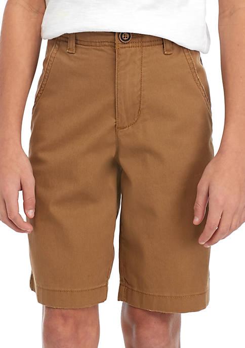 Boys 8-20 Flat Front Twill Buck Khaki Shorts