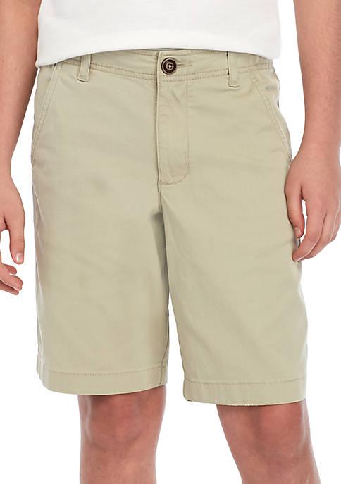 Boys 8-20 Husky Flat Front Twill Mineral Tan Shorts