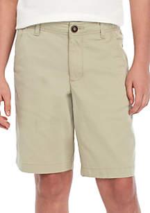 TRUE CRAFT Boys 8-20 Husky Flat Front Twill Mineral Tan Shorts