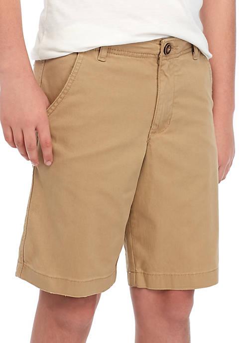 Boys 8-20 Husky Flat Front Twill Outdoor Tan Shorts
