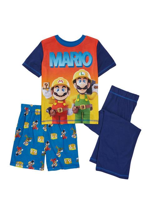 Nintendo Boys 8-20 Super Mario 3-Piece Pajama Set