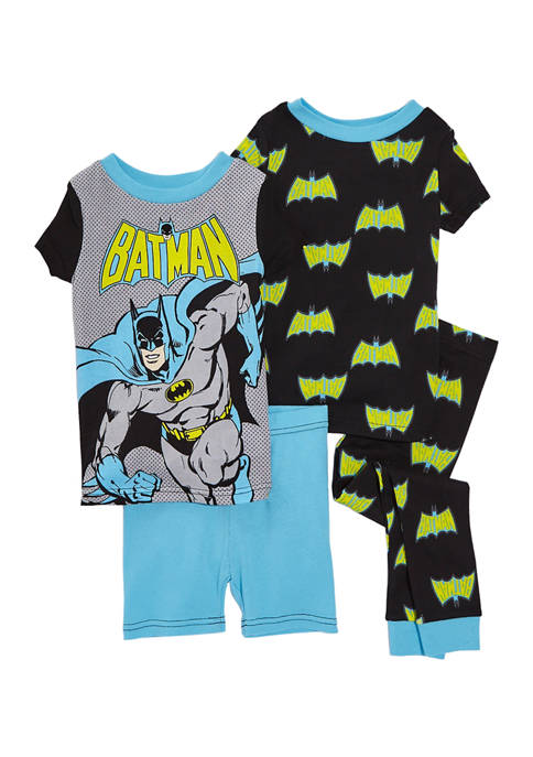 Batman™ Boys 8-20 Batman 4-Piece Cotton Pajama Set