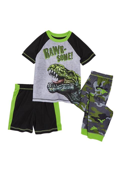 Boys 4-20 Dino 3-Piece Pajama Set