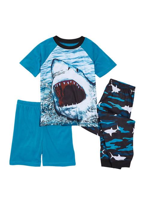 Boys 4-20 3 Piece Shark Pajama Set