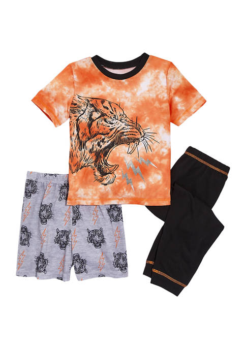 Boys 4-20 3 Piece Tiger Pajama Set