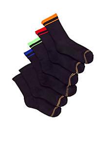 6-Pack Athletic Crew Socks Boys 4-20