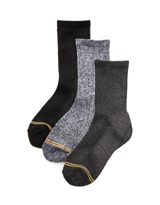Gold Toe Big Boys/' Athletic Crew Sock Six-Pack Small White//Grey