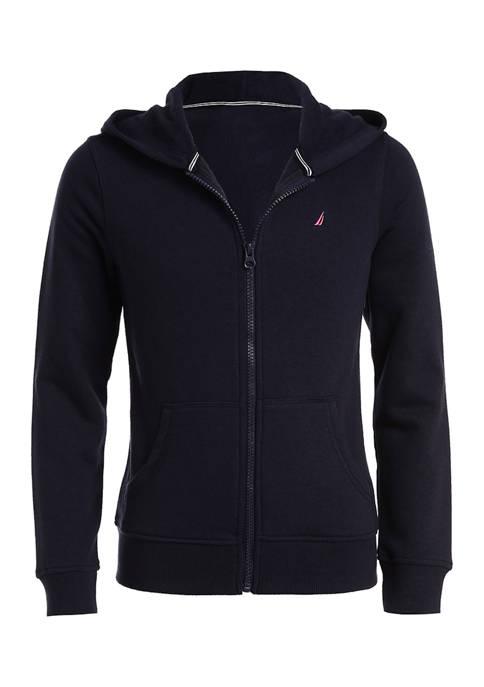Nautica Girls 4-6x Full Zip Fleece Hoodie