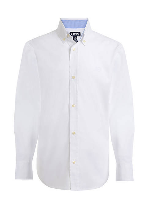 Chaps Poplin Woven Button-Front Shirt Boys- 4-7