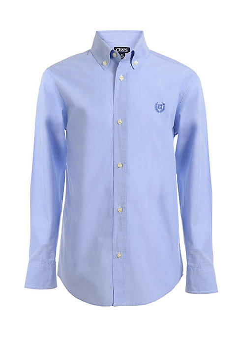 Chaps End on End Woven Button-Front Shirt Boys