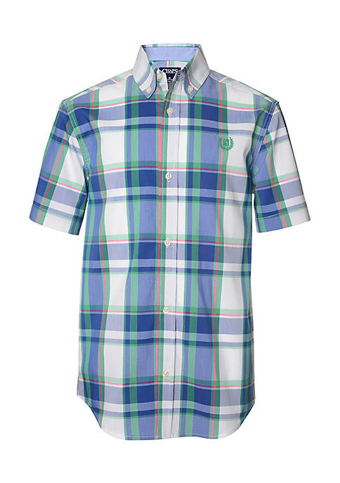 Chaps Boys 4-7 Short Sleeve Plaid Woven Shirt
